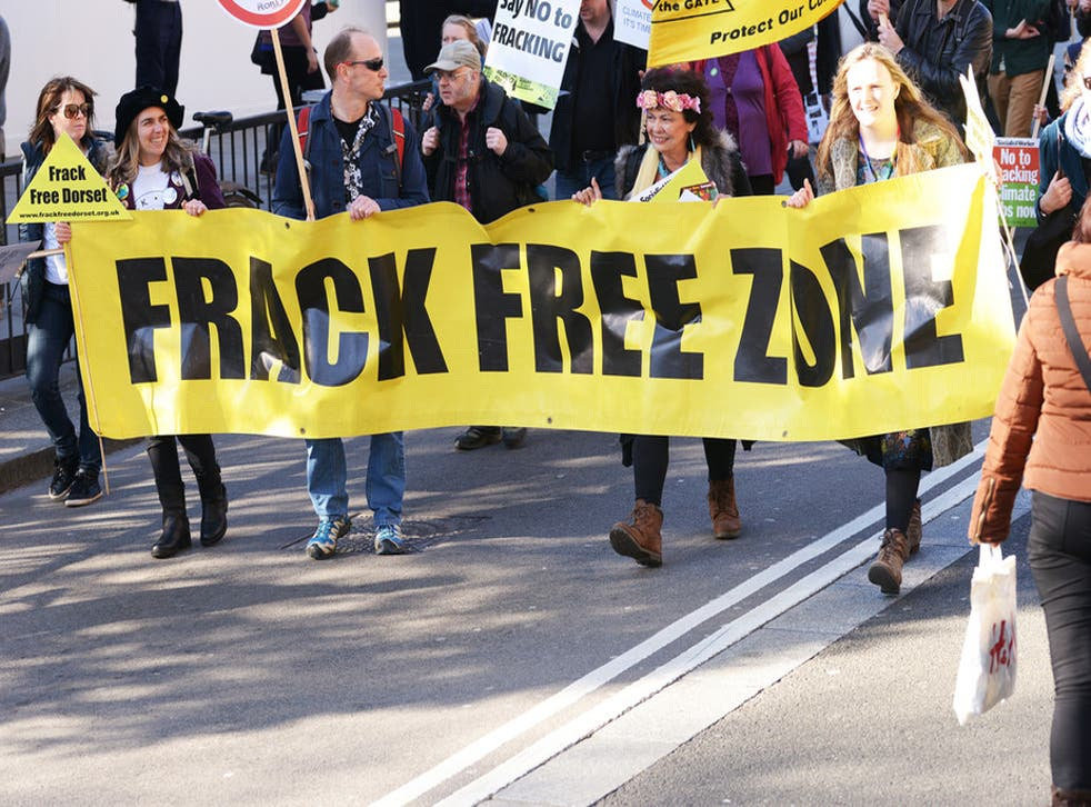 Protesters campaign against fracking and climate change in Dorset