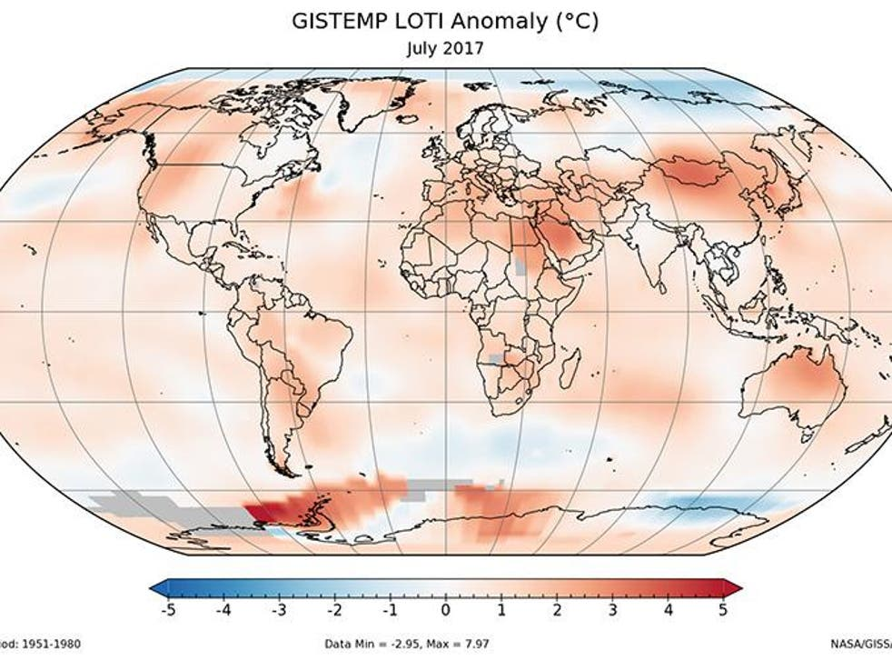 July's average global temperature was 0.83C higher than the month's average