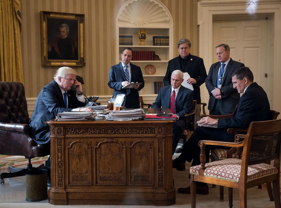 The only people in this photo who are still part of the Trump administration are Vice President Mike Pence and President Donald Trump himself.
