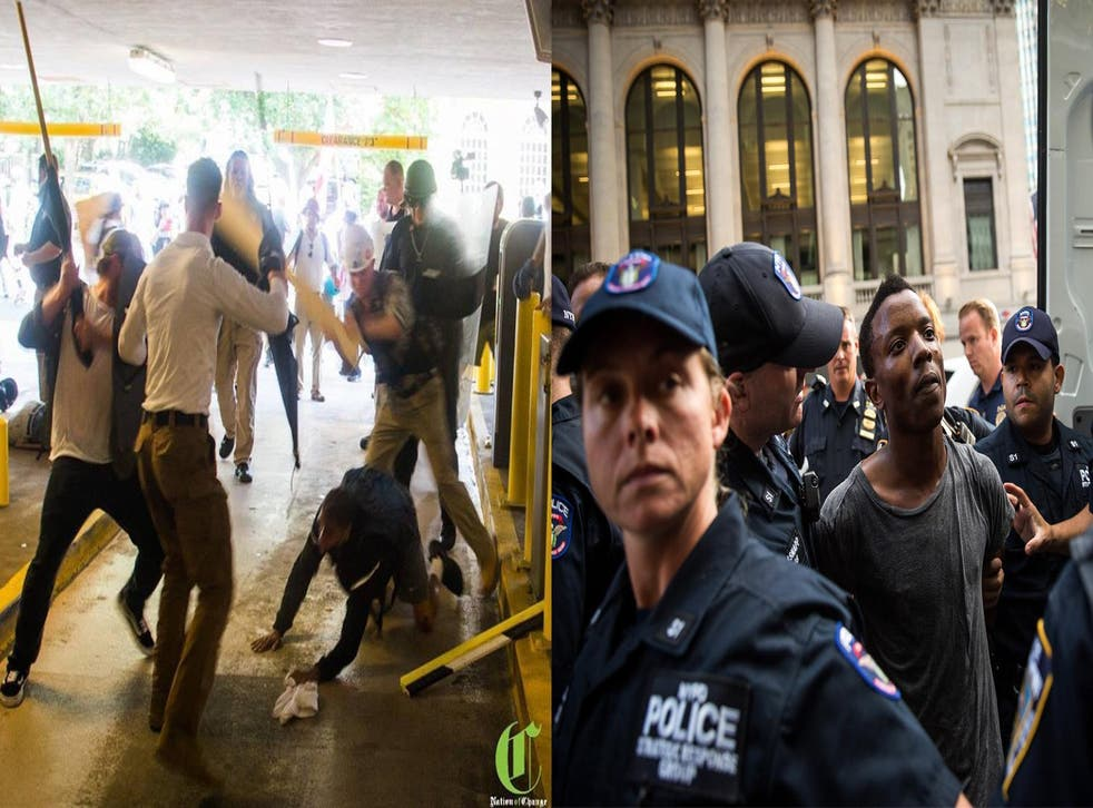 Deandre Harris being assaulted by a group of white supremacists shouting racial slurs