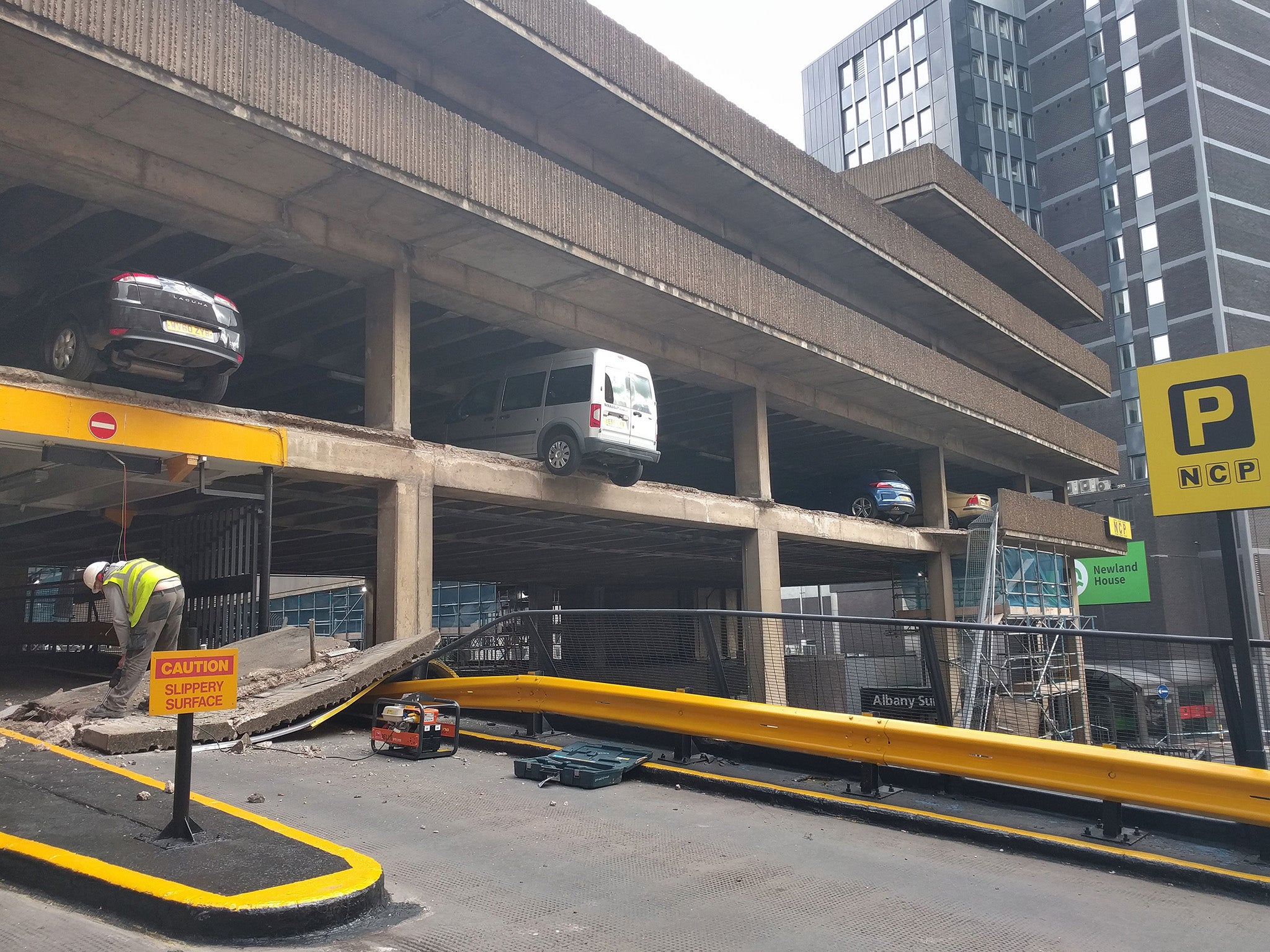 Cars Left Dangling After Multi Storey Car Park Collapses