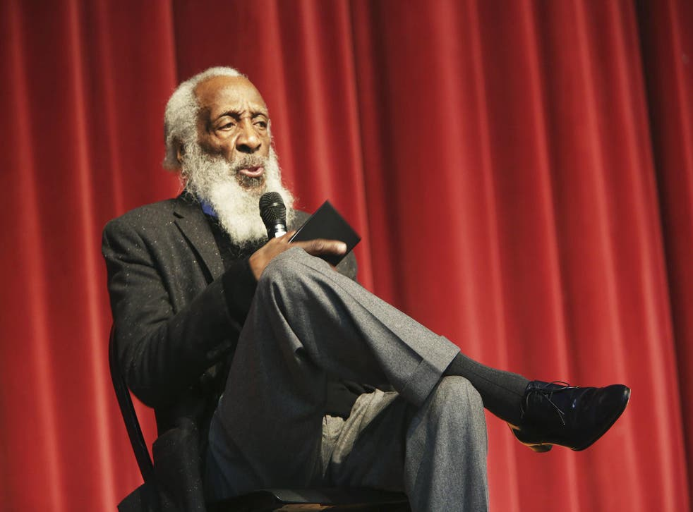 Dick Gregory talks to an audience at the Tampa Bay Black Heritage Festival in January 2016