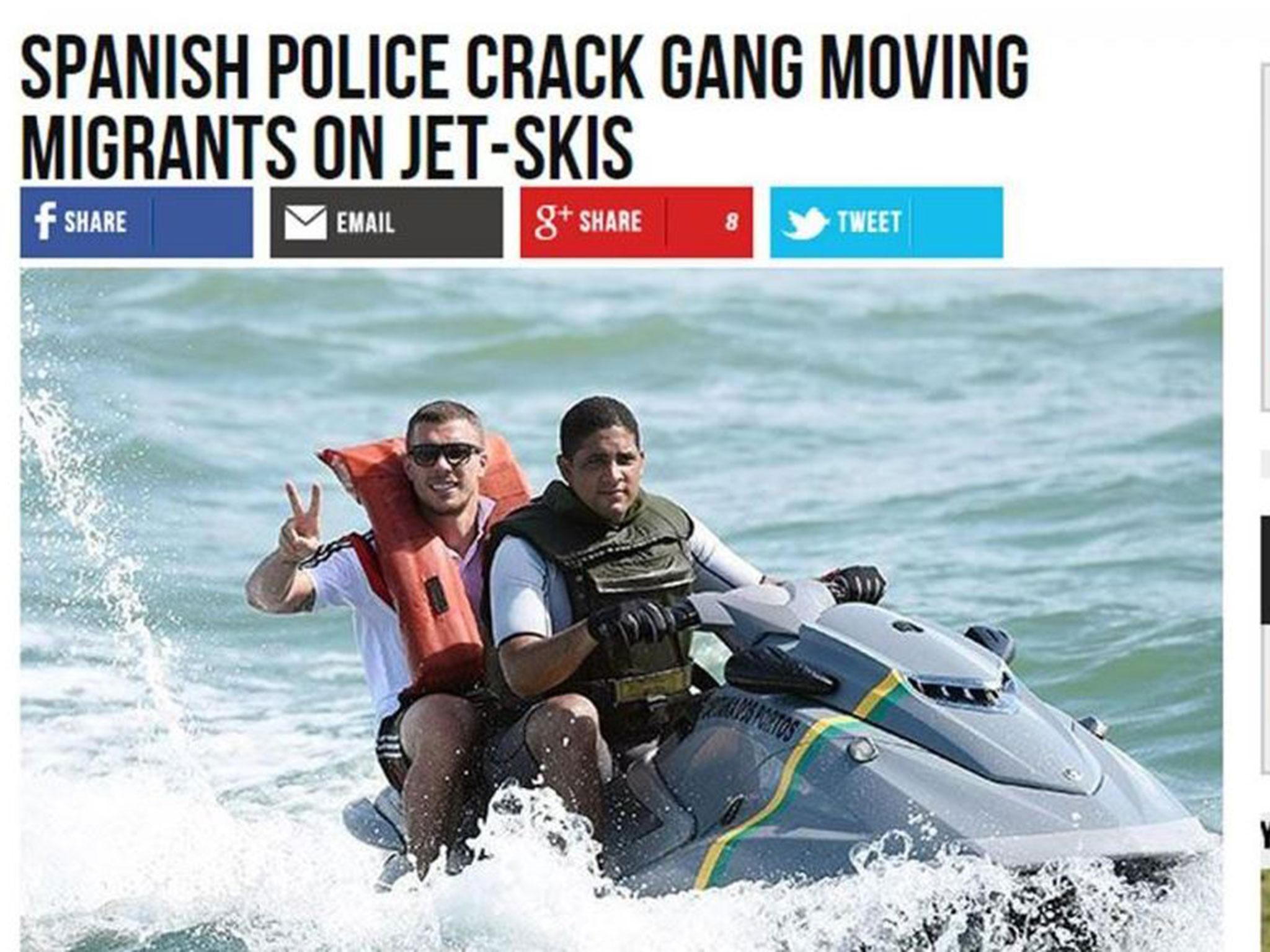 Breitbart apologises after using picture of Lukas Podolski on jet-ski in story about migrant gangs