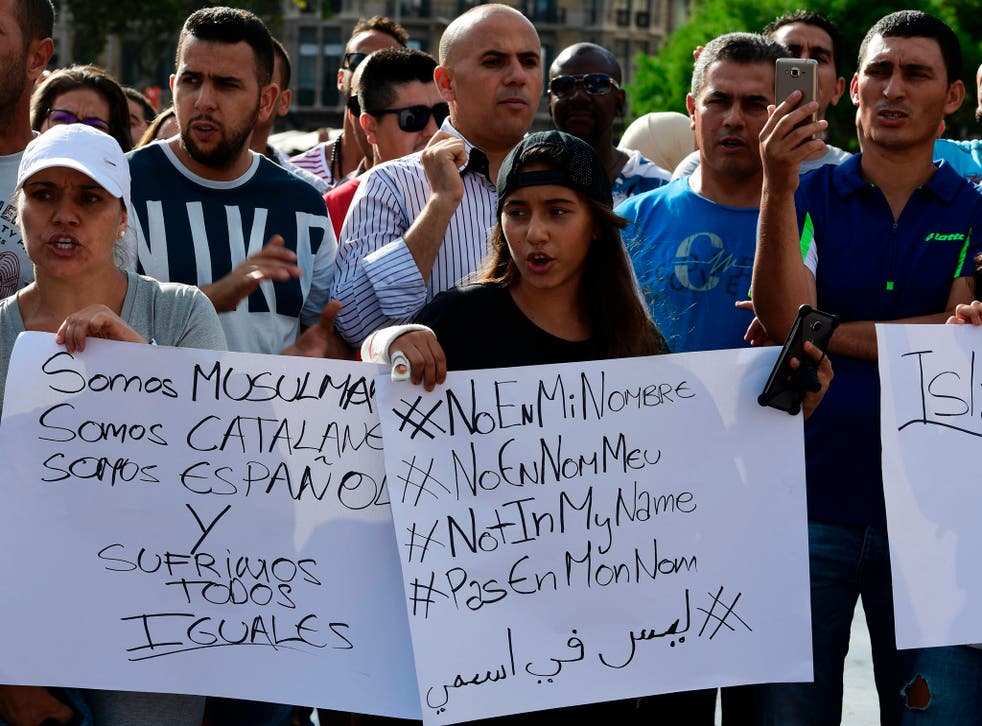 Muslim residents in Barcelona march along Las Ramblas to the Plaza de Catalunya to protest against terrorism