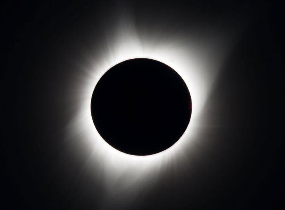 The eclipse as seen above Oregon, USA