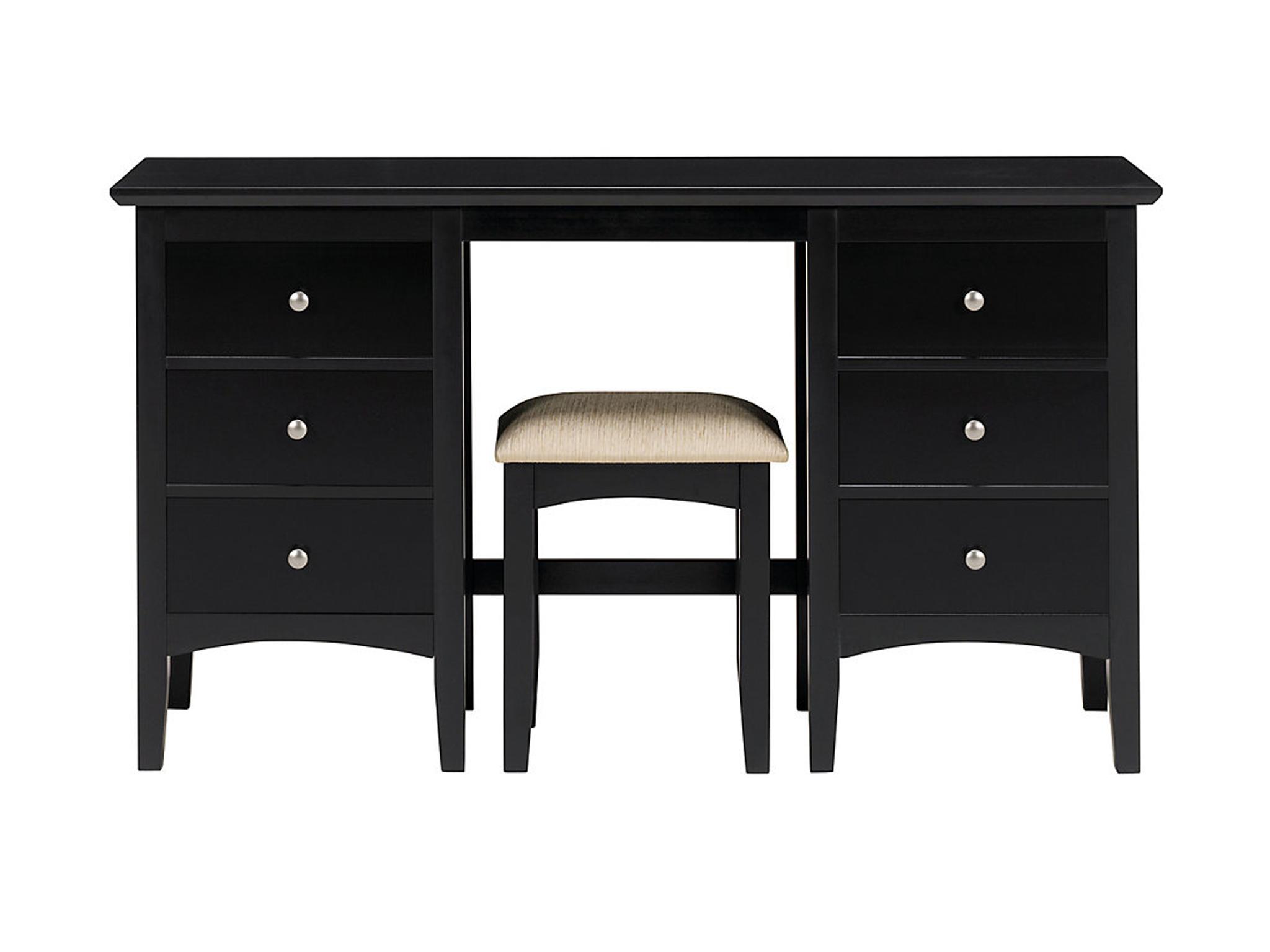 Mu0026S Hastings Dark Dressing Table And Stool Set: £319.20, Mu0026S