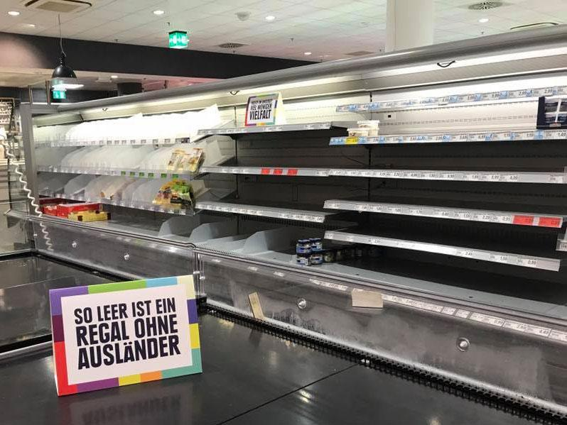 German supermarket empties shelves to make a point about racism