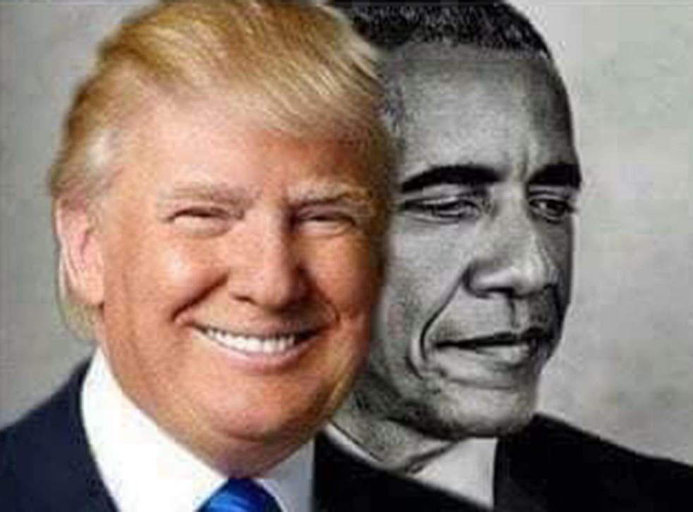 Donald Trump re-tweeted the picture featuring himself and Barack Obama to his 36.6 million followers