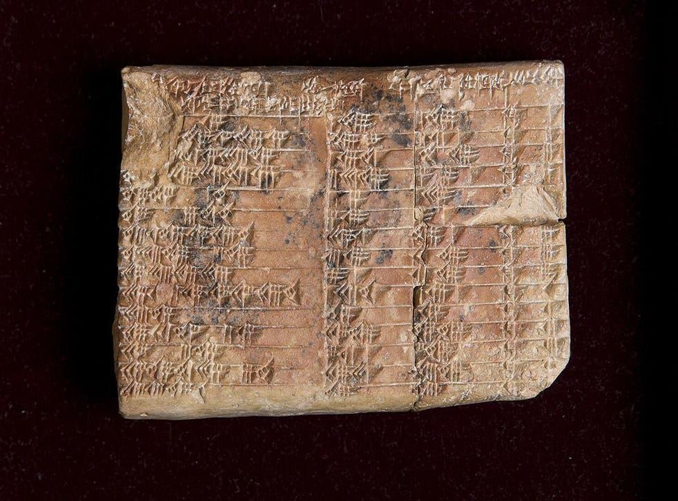 The Babylonian tablet Plimpton 322 has numbers written in cuneiform script