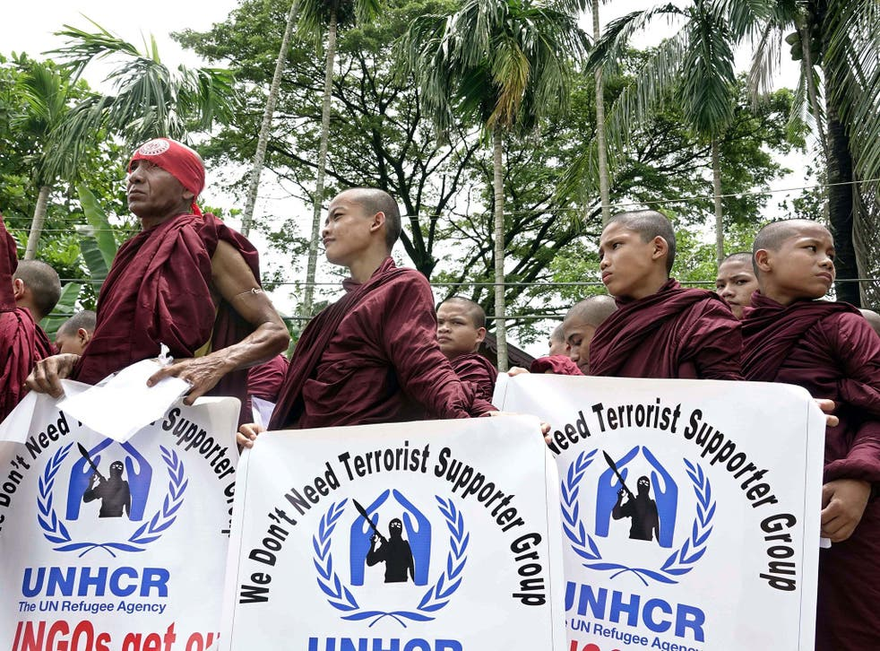 Buddhist monks protest against the interference of UN and NGOs in Sittwe, Rakhine State