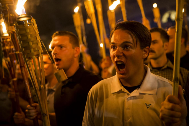 Neo-Nazis and white supremacists chant in Charlottesville, Virginia