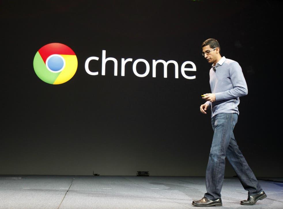 Sundar Pichai, senior vice president of Google Chrome, speaks during Google I/O Conference at Moscone Center in San Francisco, California June 28, 2012