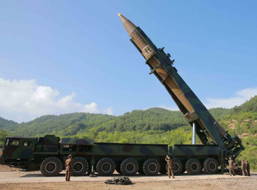 North Korean inter-continental ballistic rocket Hwasong-14 being prepared before a previous test launch