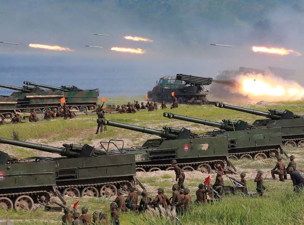 North Korean soldiers take part in a target-striking contest of the special operation forces of the Korean People's Army