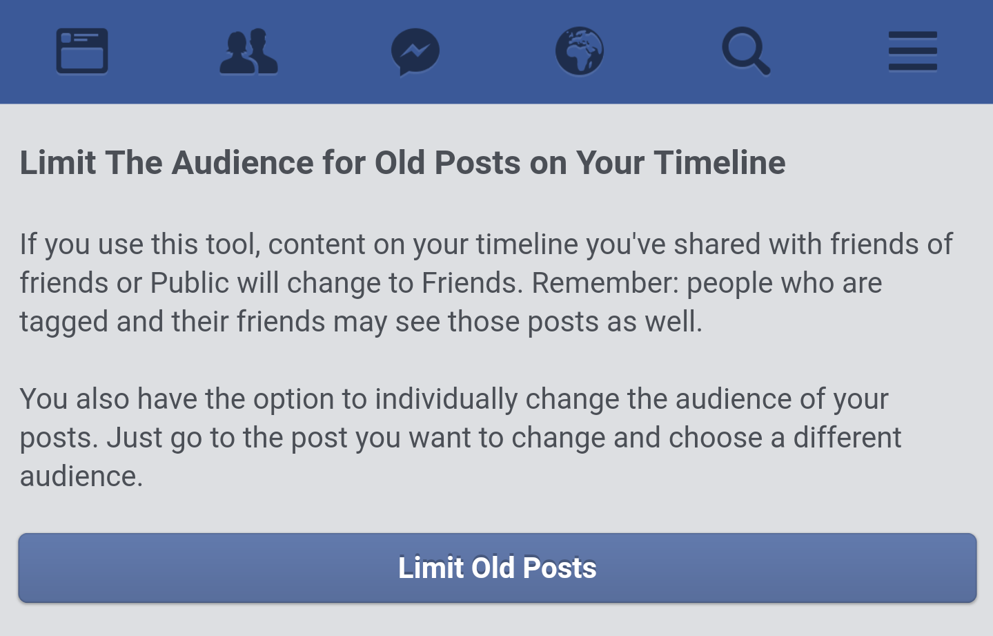 Limit old posts