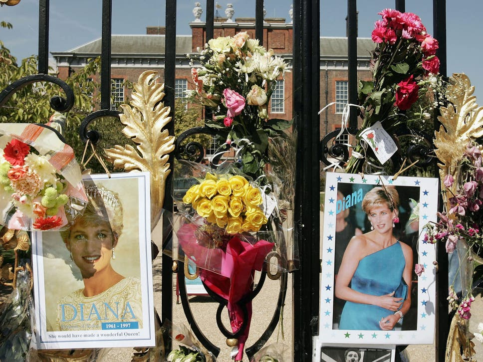 Flowers Photographs And Tributes Line The Gates Of Kensington Palace Two Decades After Princess