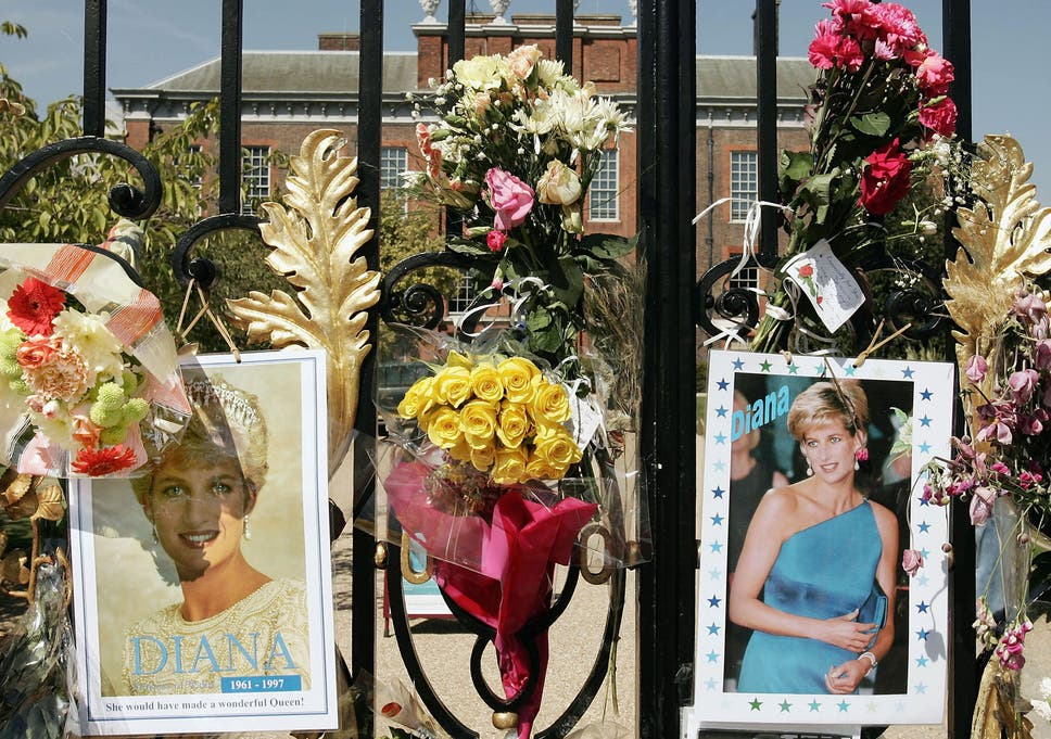 info for a50ce d00cd Flowers, photographs and tributes line the gates of Kensington Palace two  decades after the Princess