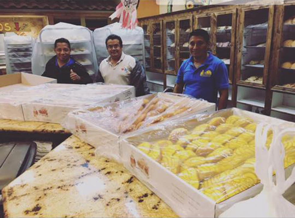 Three of the four bakers who were trapped inside the El Bolillo Bakery for two days because of the floods in Houston and made hundreds of loaves for flood victims.