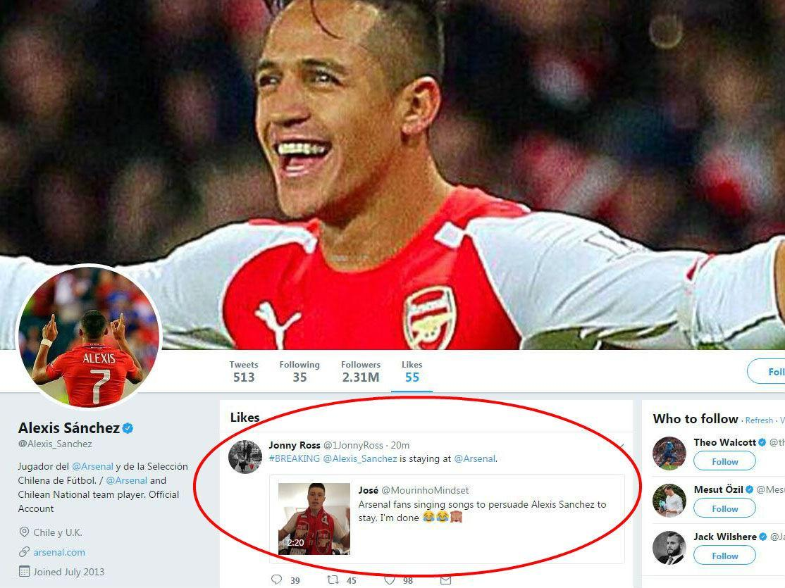 Alexis Sanchez likes Alexis is staying at Arsenal tweet despite
