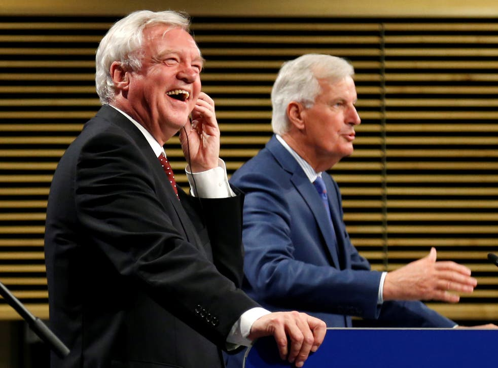 David Davis and Michel Barnier hold a joint news conference marking the end of the third formal negotiation session in Brussels