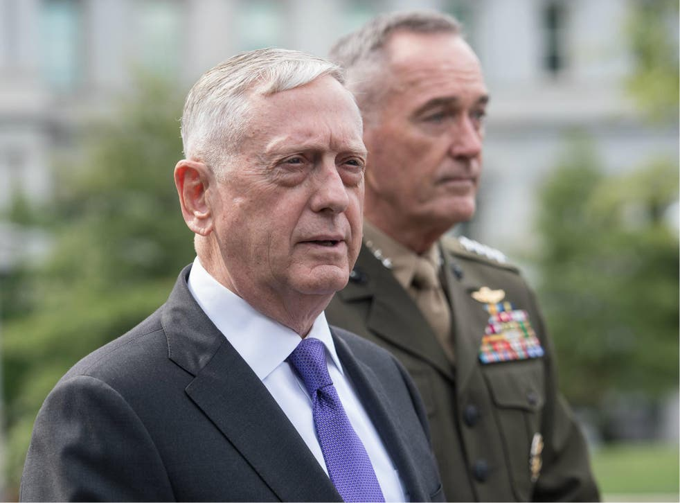 US Defence Secretary James Mattis and General Joseph Dunford, chairman of the Joint Chiefs of Staff, arrive to speak to the press about the situation in North Korea at the White House in Washington DC on 3 September 2017