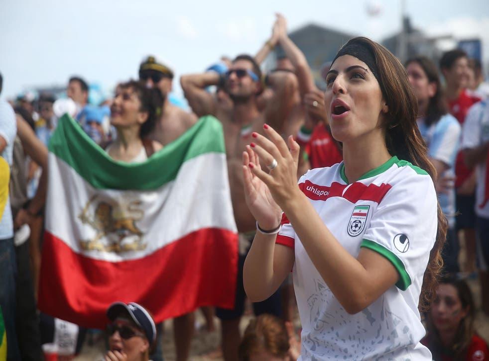 Iranian fans watch Iran vs Argentina in 2014 in Rio de Janeiro