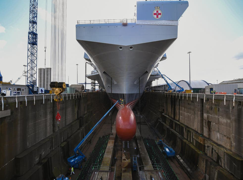 New Royal Navy ships will come with AI capabilities, the First Sea Lord has said. Pictured is the HMS Prince of Wales,slated for launch in 2020