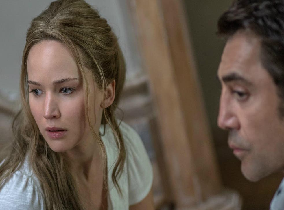Lawrence (above, with Javier Bardem)  isn't given a large amount of dialogue but she is on screen almost the entire time