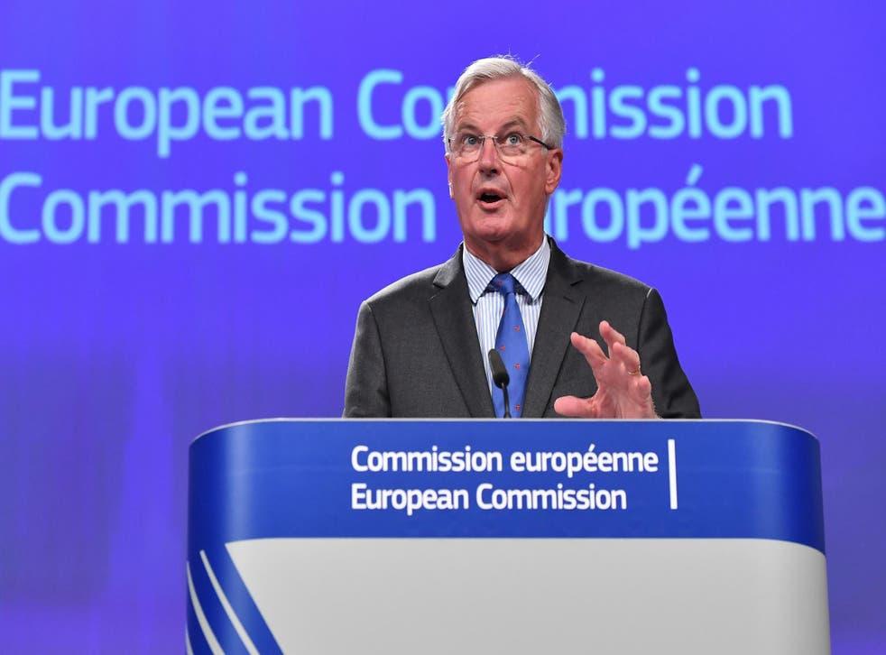 Michel Barnier speaks to reporters in Brussels