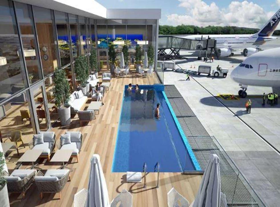 The outdoor pool will overlook the runway