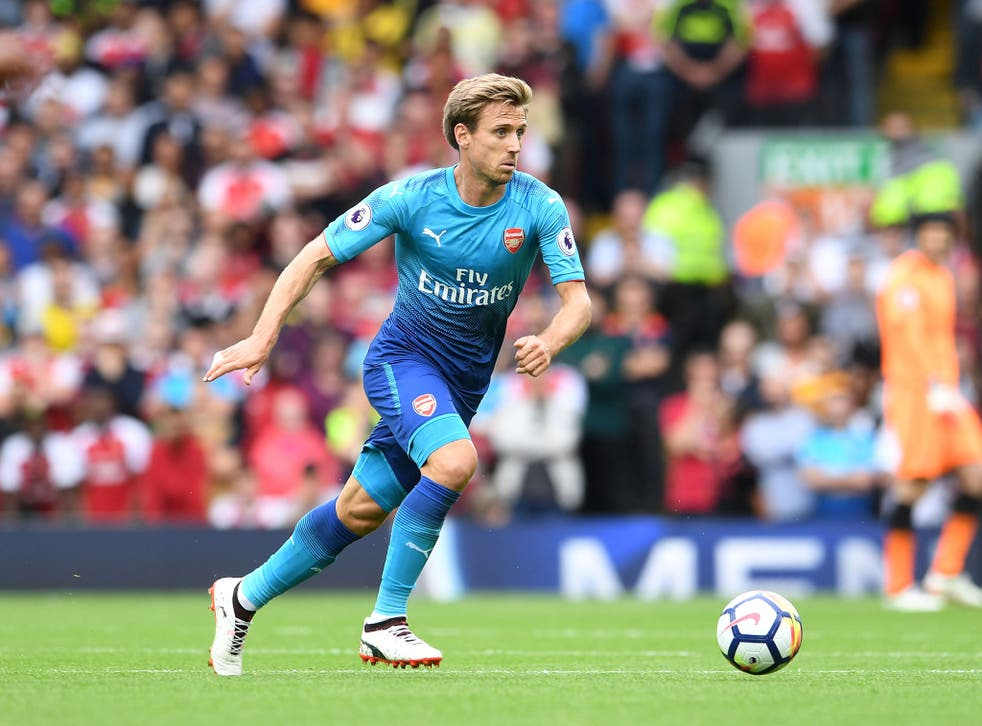 Nacho Monreal in action during Liverpool's 4-0 defeat by Liverpool