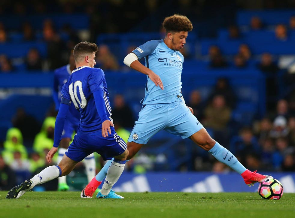 Jadon Sancho in action for Manchester City's academy side