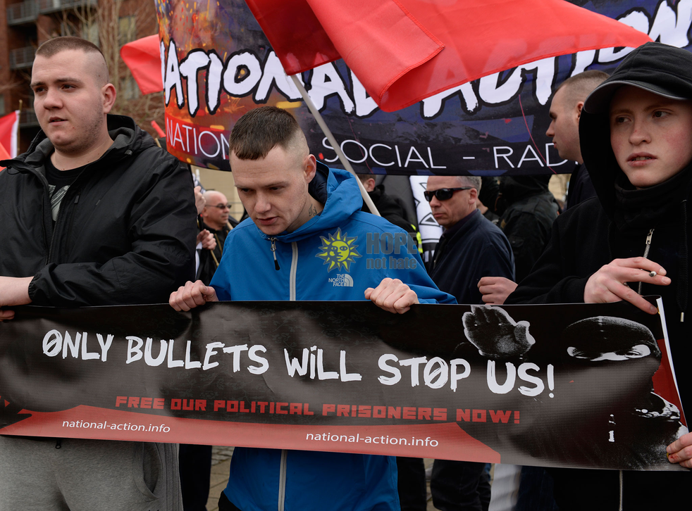 Members of National Action at the 'White Man March' in Newcastle in March 2015