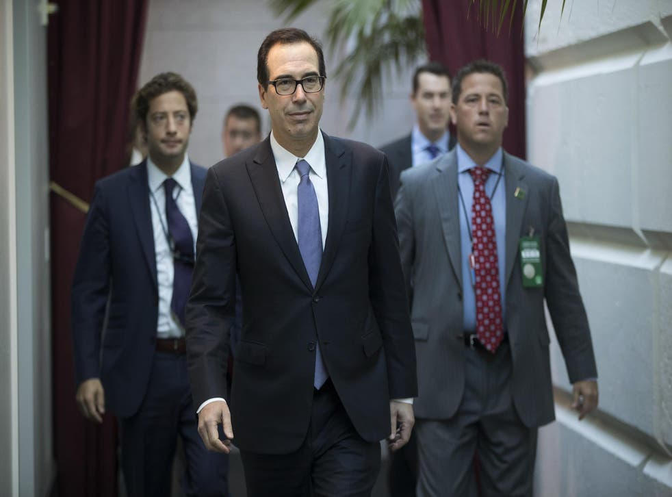 Treasury Secretary Steven Mnuchin arrives for a closed-door meeting with Speaker of the House Paul Ryan and House Republicans on September 8, 2017
