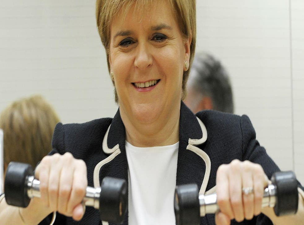 Nicola Sturgeon takes part in a seniors exercise class at Bishopbriggs Leisure Centre. East Dunbartonshire on the outskirts of Glasgow, on June 5, 2017. The area was ranked best for women by the National Centre for Social Research. Picture: