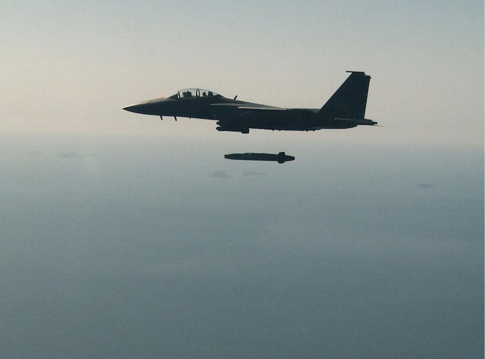 A handout photo from South Korea's Defense Ministry shows a Taurus missile fired from an F-15K fighter jet