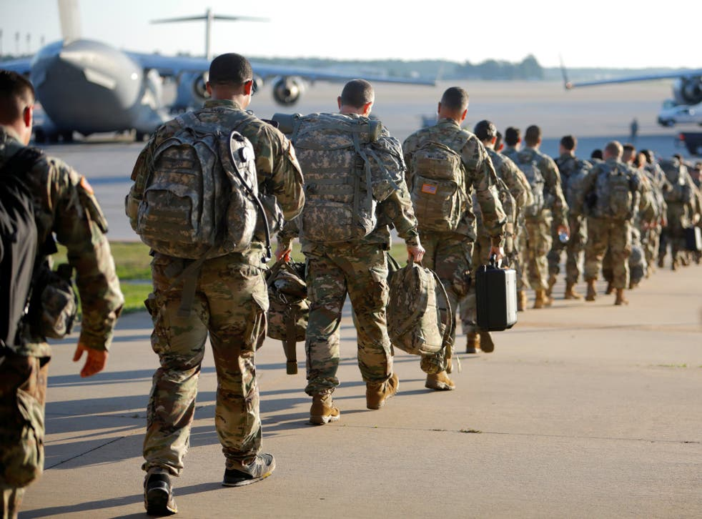 Soldiers leaving Fort Bragg in North Carolina