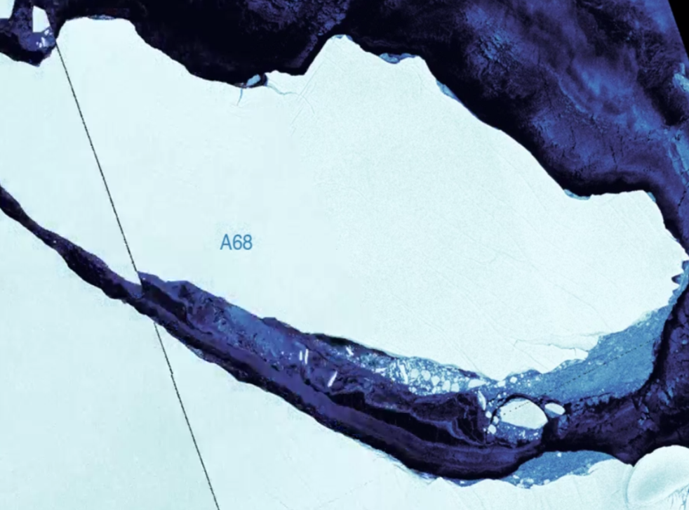 A composite image of the A68 iceberg on 13 and 16 September showing it is heading out to sea