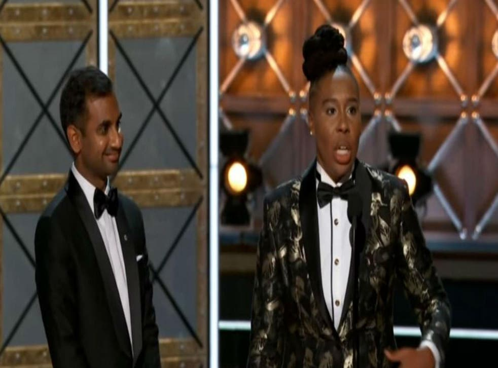 Lena Waithe (R) wins for Outstanding Writing in a Comedy Series, at the 2017 Emmys. Picture: