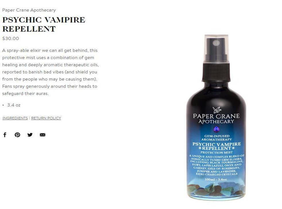 Goop is selling psychic vampire repellent to 'banish bad vibes' | The Independent | The Independent