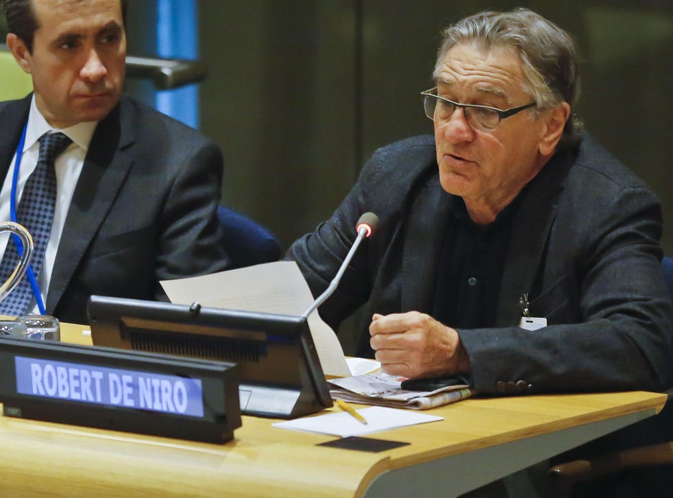 Actor Robert De Niro addresses a high-level meeting on Hurricane Irma at the United Nations headquarters