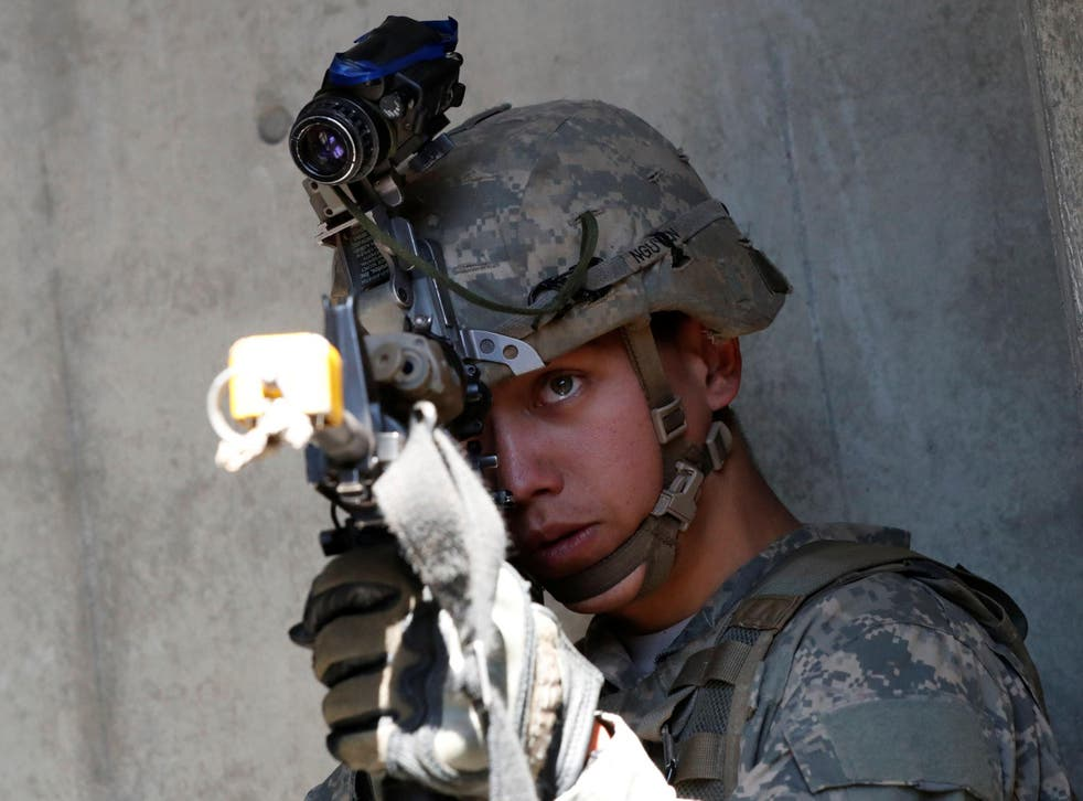 A US Army soldier takes part in an urban warfare drill