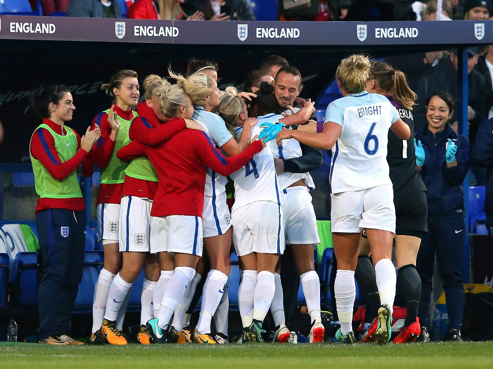 England Women appear stand with manager Mark Sampson with thumping win over Russia