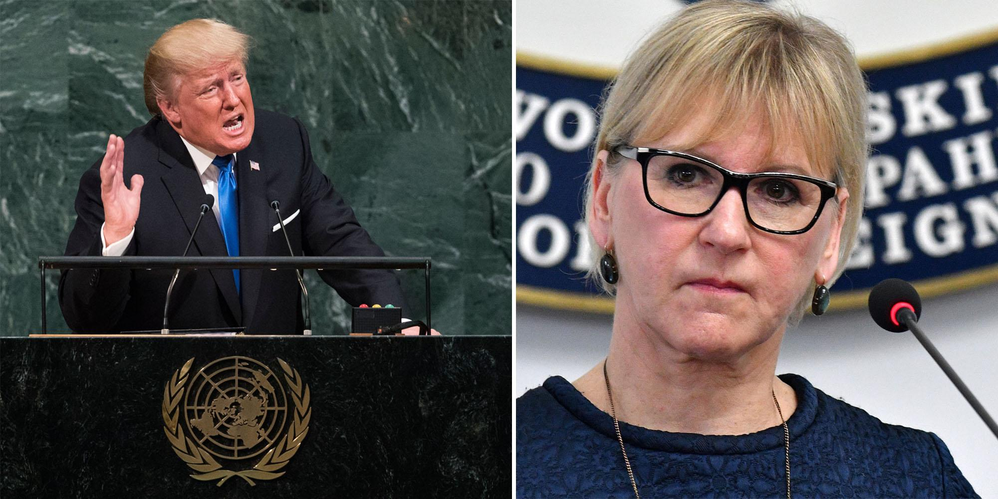 Sweden's foreign minister is the only one who had an honest reaction to Trump's speech