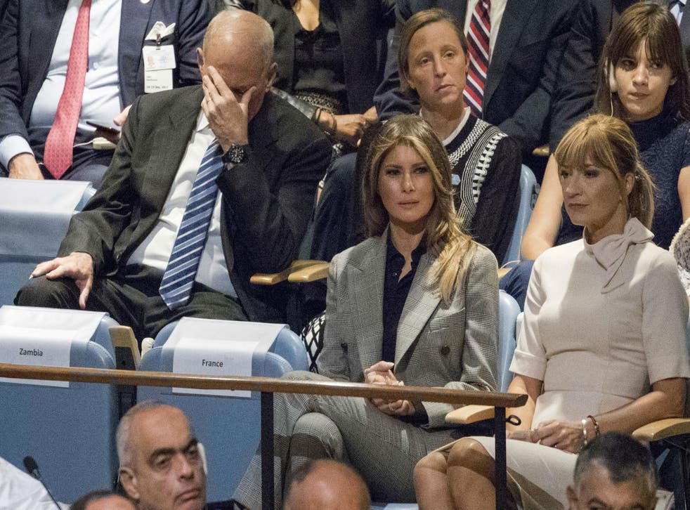 Mr Kelly sat and listened to Mr Trump's speech