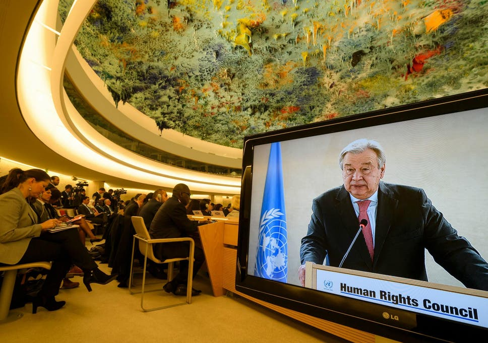 Un Secretary General Antonio Guterres Is Seen On A Tv Screen While Addressing The United
