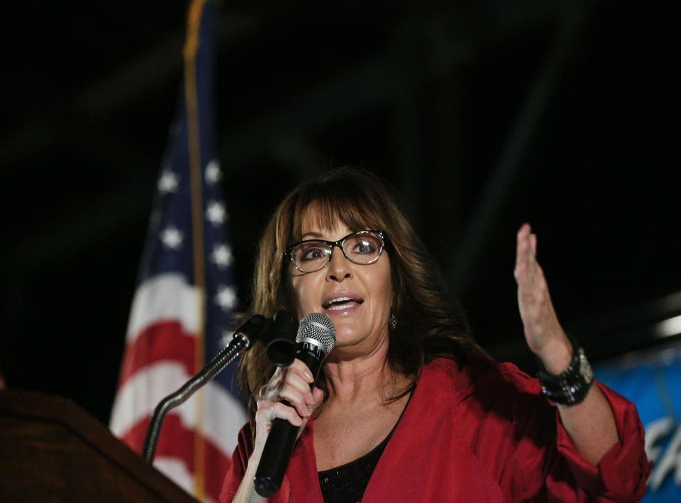 Ms Palin spoke at the rally in Birmingham