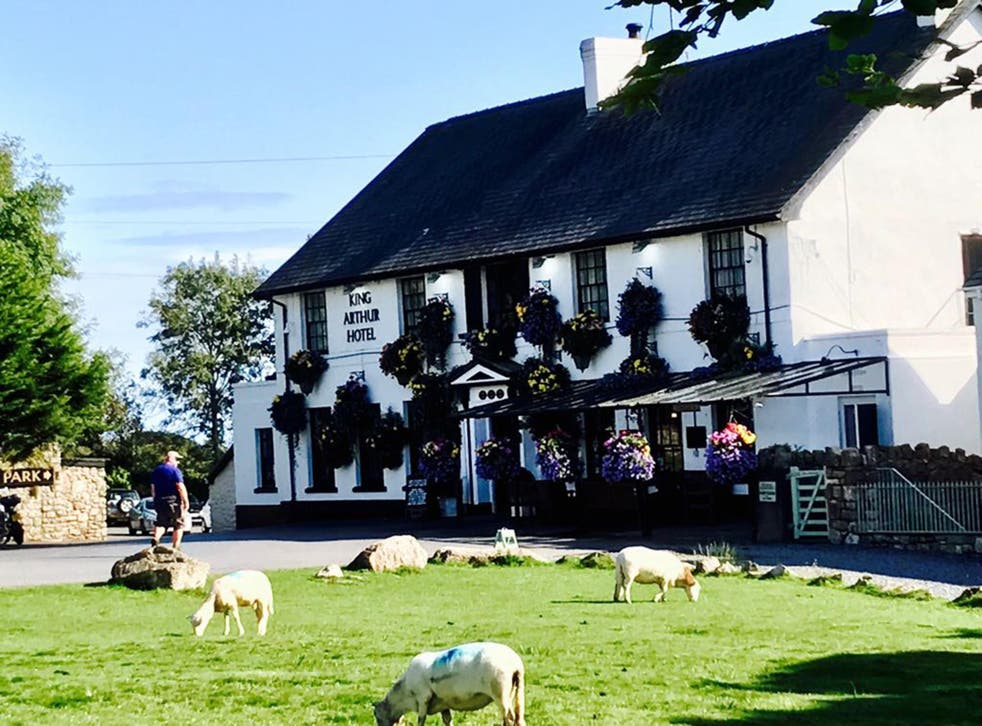The King Arthur hotel in Reynoldston, where sheep, cattle and ponies roam free and drivers are advised to proceed with caution