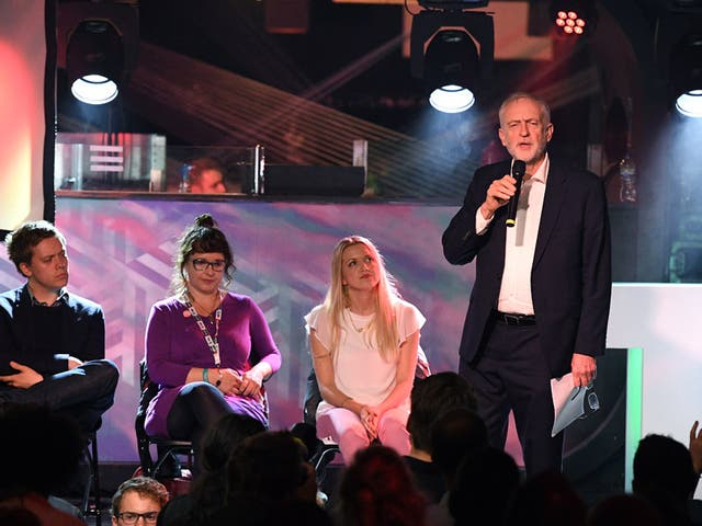 Jeremy Corbyn speaking at Momentum's The World Transformed festival in Brighton