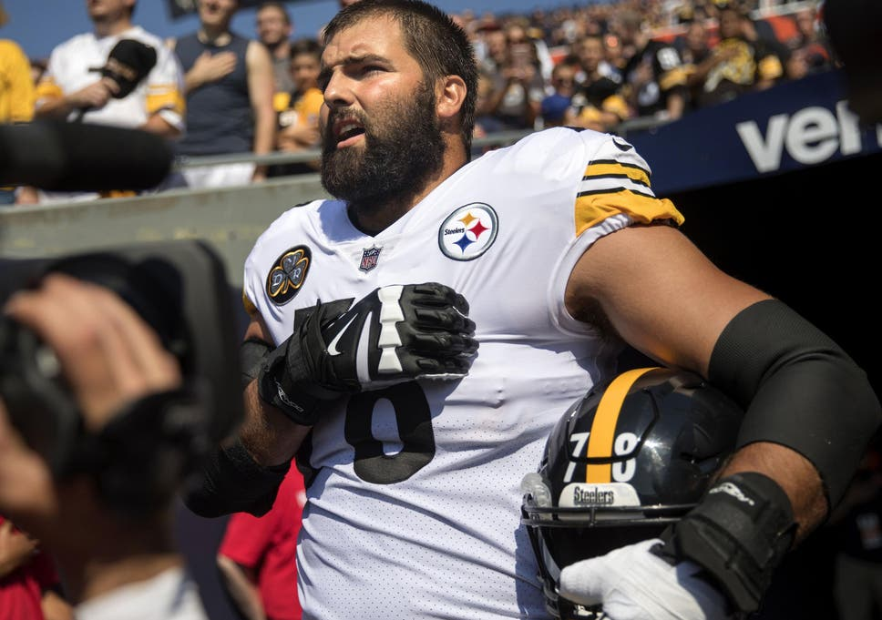 sale retailer d309c 3ad50 Taking a knee: Pittsburgh Steelers' Alejandro Villanueva ...